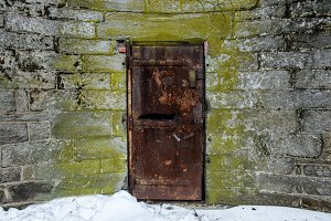 Old abandoned metal door