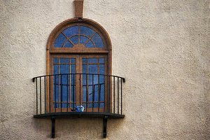Balcony with Blue Window