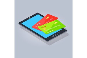 Two Payment Card Lying on Mobilephone or Tablet