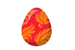 Easter Egg with Orange Leaves or Fire Flame Vector