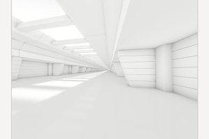 Abstract empty corridor interior.