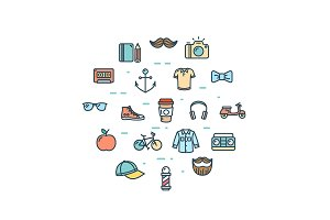 Hipster Icon Thin Line Set