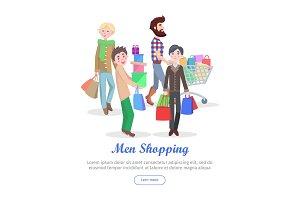 Men Shopping Conceptual Flat Vector Web Banner