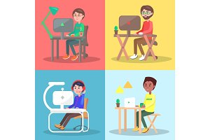 People at The Table Working on Computer Vector Set