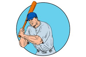 Baseball Player Holding Bat Drawing