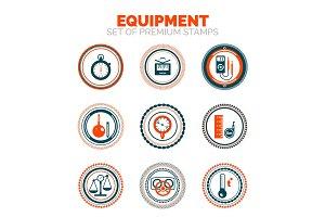 Set of measure equipment premium design stamp icons