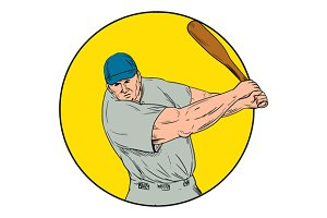 Baseball Player Swinging Bat Drawing