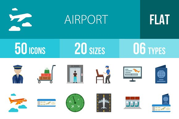 50 Airport Flat Multicolor Icons