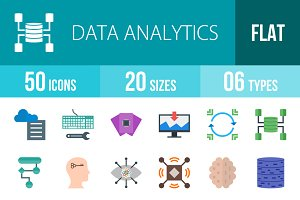 50 Analytics Flat Multicolor Icons