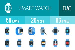 50 Smart Watch Flat Multicolor Icons