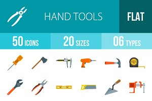 50 Hand Tools Flat Multicolor Icons