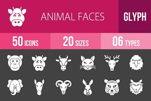 50 Animal Faces Glyph Inverted Icons
