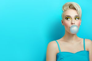 Girl with chewing gum.