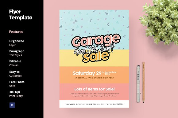 Garage Sale Flyer Template Flyer Templates Creative Market – Yard Sale Flyer Template