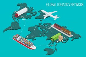Global logistics network Flat 3d isometric vector illustration S