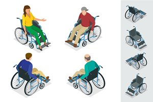 Wheelchair isolated. Man in Wheelchair. Flat 3d isometric vector