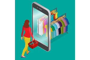 Online shopping and consumerism concept. Mobile grocery shopping