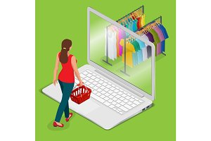 E-commerce, pay on-line and on-line shopping concept. Mobile gro