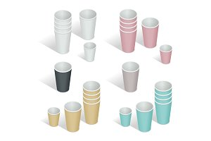 Flat 3d Vector isometric illustration. Paper cup set. Paper coff