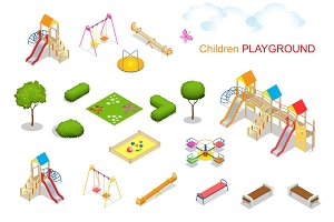 Children playground. Flat 3d isometric vector illustration for i