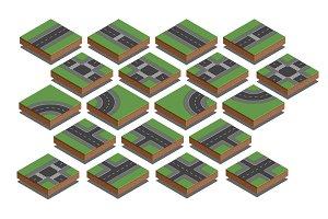 Road elements. City map creation kit. Isometric vector illustrat