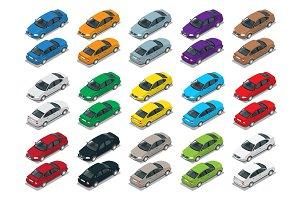 Sedan Car, Sedan automobile. Flat isometric high quality city tr