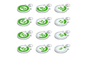 Set of green timers. Vector 3d isometric illustration. Sports st