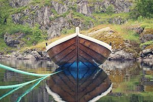 Old boat reflection