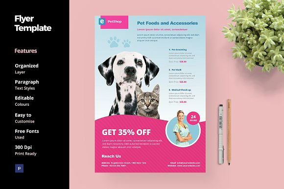 Pet Shop Flyer Template Flyer Templates Creative Market
