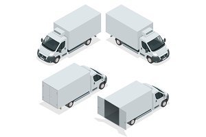 Set of icons truck for transportation cargo. Van for the carriag