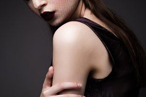 Beauty Fashion Model Girl with Dark Make up.