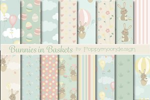 Bunnies in baskets-paper