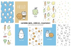 Cartoon milk, cookies, vegetables