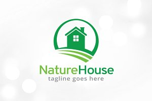 Nature House Logo Template Design