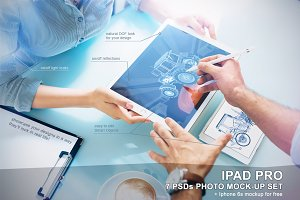 iPad Pro Photo Mockup Set - 7 PSD
