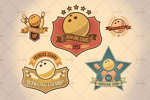 Set of bowling tournamet labels