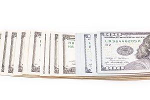 Dollar bills on white