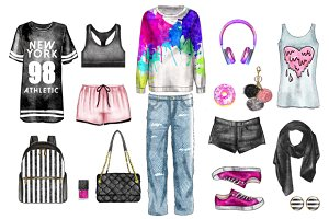 Watercolor Casual Fashion set