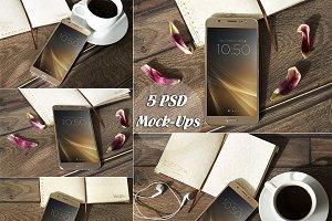 BUNDLE, Smartphone, 5 PSD Mock-Ups,