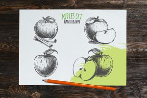 Apples hand drawn vector sketches