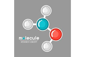 Molecular structure emblem. Research concept in flat style