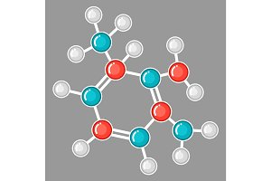 Molecular structure design. Research concept in flat style