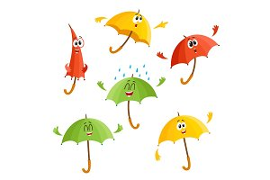 Cute, funny umbrella characters with human face showing different emotions