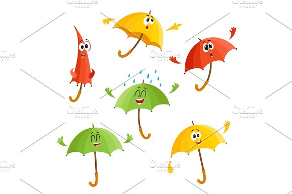Cute Funny Umbrella Characters With Human Face Showing Different Emotions