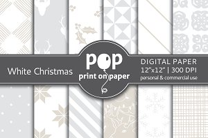 White Christmas Digital Paper - JPG