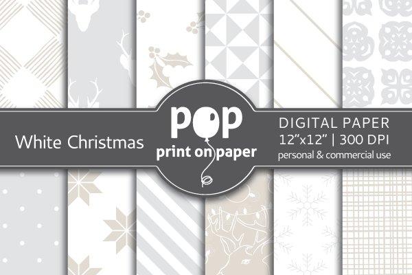 White Christmas Digital Paper - JPG