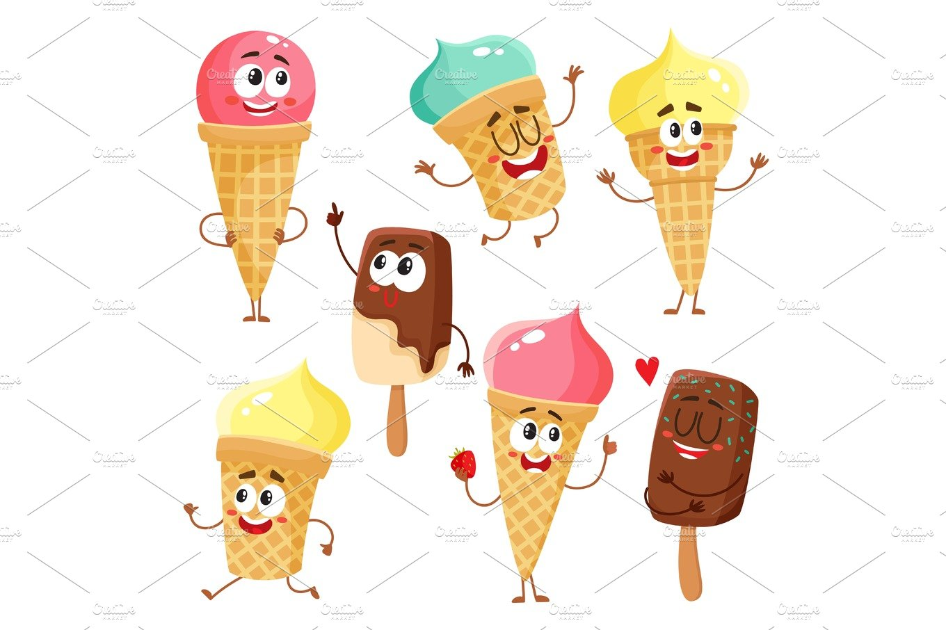 Funny ice cream characters, cones, popsicles with smiling human ...