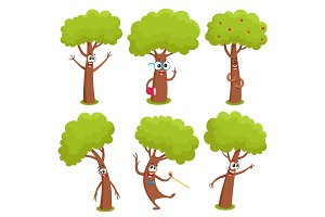 Set of funny comic tree characters showing various emotions