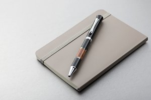 Pen and notepad on gray background. Business and education.