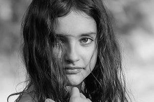Portrait of a beautiful girl.B&W